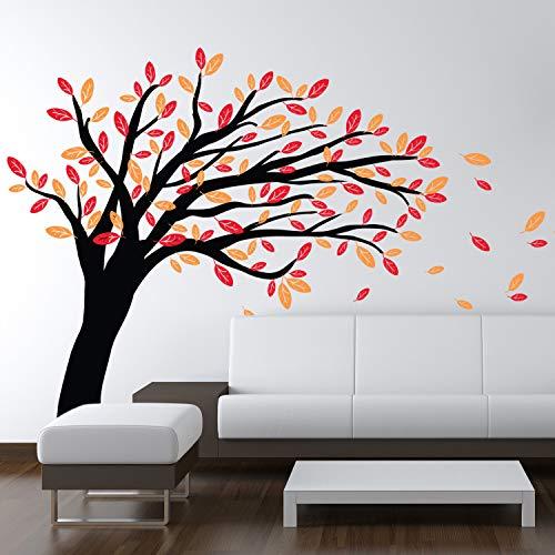 N.SunForest Windy Tree - Vinyl Background Funny Sticker Vinyl Art Mural Decals for Home, Bedroom -