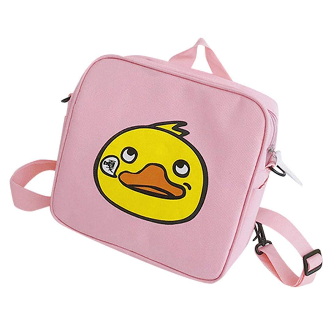 Vertily Children Cute Animal Square Crossbody Student Backpack School Bag, Duck (Pink) by Vertily Bag