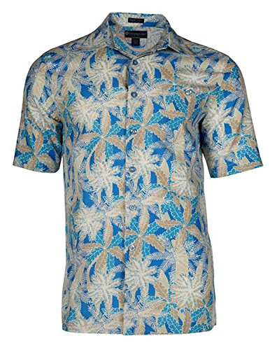 (Weekender - Leaf Canopy, Short Sleeve Square Hem Hawaiian Shirt Two Rear Pleats)