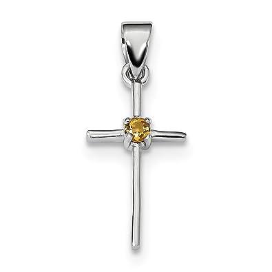 Sterling silver citrine cross pendant amazon jewellery sterling silver citrine cross pendant aloadofball Gallery