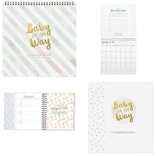Pregnancy Journal & Countdown Calendar Set - Baby On The Way Elegant Gold Foil Stamp Gift Set