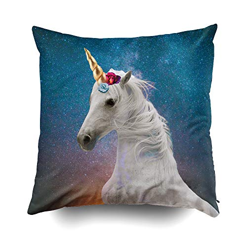 GROOTEY Decorative Cotton Square Pillow Case Covers with Zippered Closing for Home Sofa Decor Size 18X18Inch Costom Pillowcse Throw Cover Cushion Contemporary Art Collage Unicorn