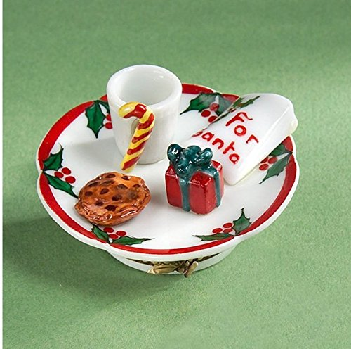 Authentic Limoges French Hand Painted Santa Plate with Cookies Box
