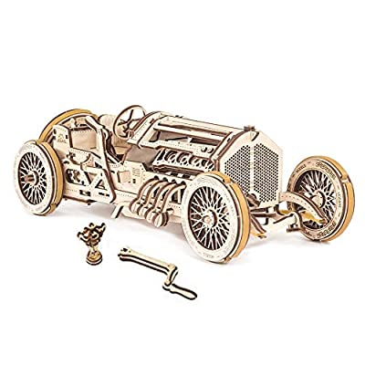 Mechanical UGEARS wooden 3D puzzle Model U-9 Grand Prix Car Construction Set: Toys & Games