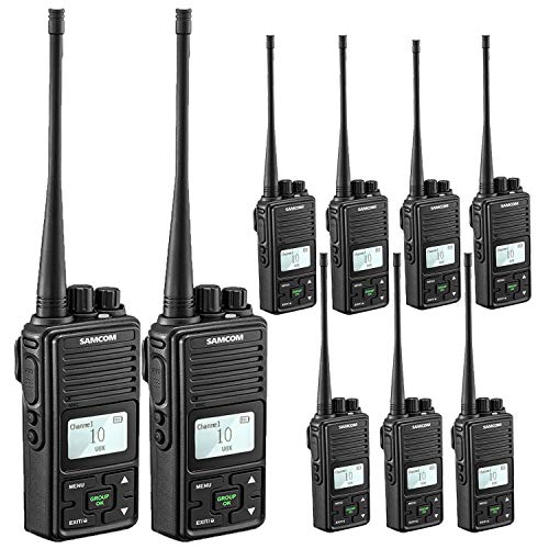 Samcom FPCN10A Walkie Talkie 20 Channel Wireless Intercom with Group Button two way radio,UHF 400-470MHz with 2.5 Miles Range(Pack of 9)