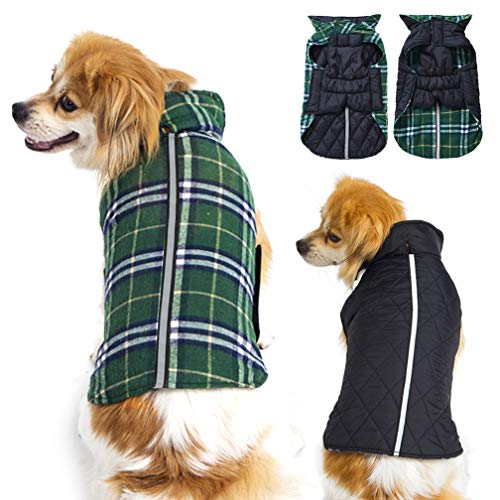 Dog Sweaters for Small Medium Dogs - Warm Waterproof Windproof Reversible Plaid Pet Vest Winter Coat - Reflective Dog Jackets for Cold Weather, Green M ()