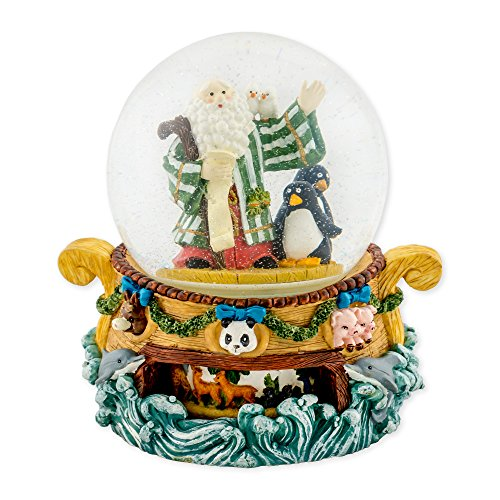 Noahs Ark with Penguin Pair 150mm Resin Rotating Water Globe Plays Tune Love Makes the World Go Round