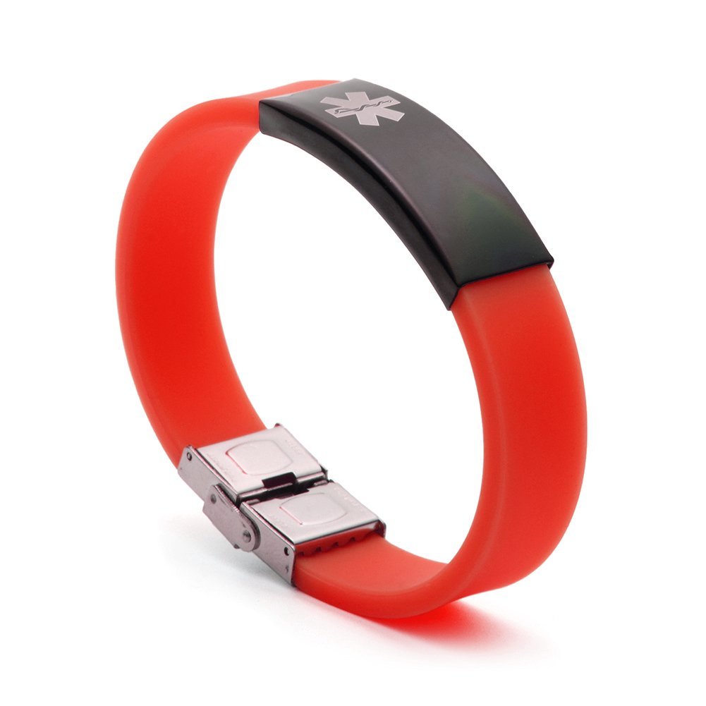 BBX Jewelry Red Silicone Medical Alert ID Bracelets for Womens Adjustable in Length Fits Adults & Kids