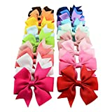 XUKE Mixed Colors 20PCS 8*8CM Girl's Grosgrain Ribbon Hair Bow Alligator Clip Headbands