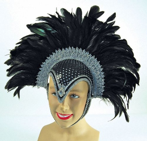Black Jewel Feather Helmet With Plume