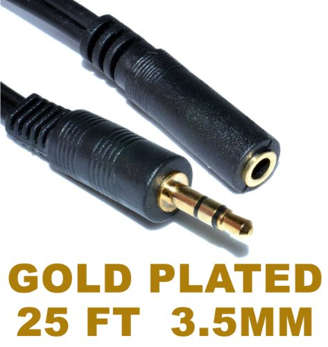 """Gold Plated 3.5 mm 1/8"""" Male/Female M/F Stereo Audio AUX Auxiliary Plug Patch Headphone Extension Cable Black, 25 feet/7.62 Meters for iPhone, iPod, Smartphone, Tablet, MP3, Car, and Computer PC"""