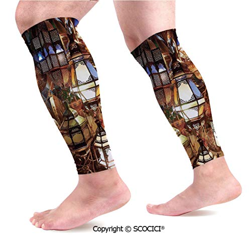 Flexible Breathable Comfortable Leg Skin Protector Sleeve Arabic Lamps and Lanterns Souk Evening Culture Historical Traveling Destinations Calf Compression Sleeve -