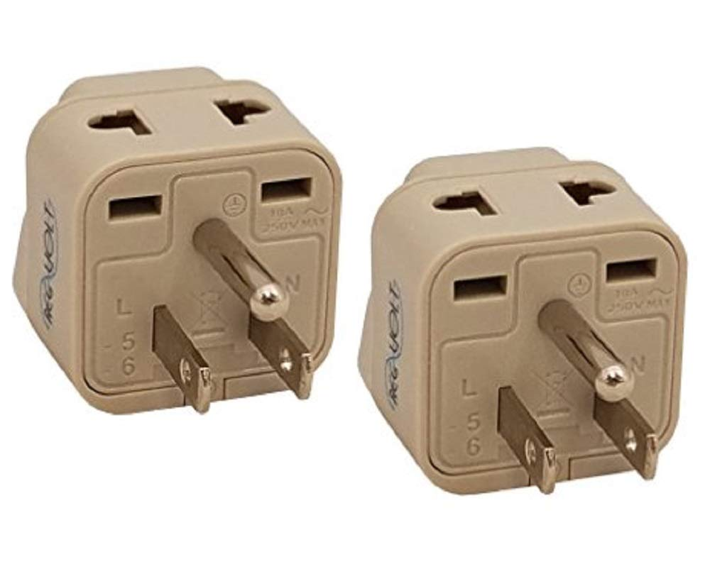 REGVOLT Type M Grounded Plug Adapter 2 in 1 Universal Socket Plug Adapter (2 - Pack)