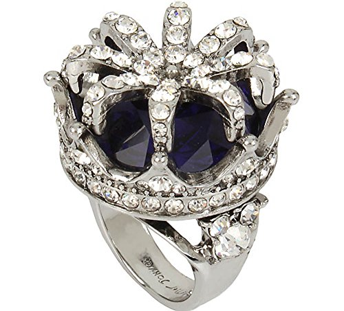 Betsey Johnson Cocktail Rings Pave Faceted Stone Crown Statement Ring, Size 7 (Betsey Johnson Crown Ring)