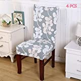 2PCS/4PCS Dining Room Stretch Printed Chair Cover Spandex Lycra Universal Protector Slipcovers Wedding Banquet Party Decor … (4, 12)
