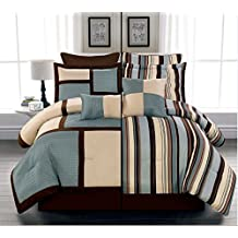 8 Piece Luxury Reversible Blue, Beige and Brown Stripe Comforter Set / Bed-in-a-bag QUEEN Size Bedding