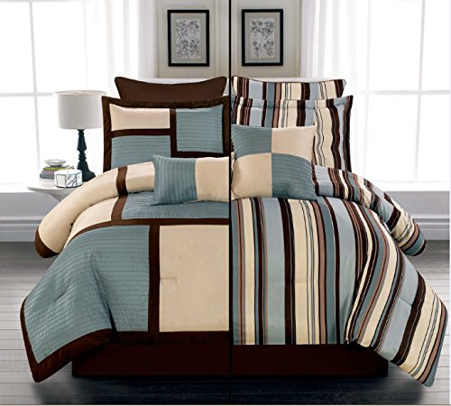 8 Piece Luxury Reversible Blue, Beige and Brown Stripe Comforter Set / Bed-in-a-bag KING Size Bedding - Brown King Bed Comforter Set