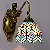 Mediterranean Simplicity Wall Lamp Tiffany Style Wall-Mounted Wall Sconce Wall Light with Stained Glass Fixture Lighting for House - Balcony - Stair - E27-Single