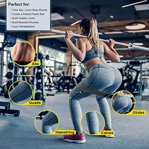 WERFORU Übungswiderstandsbänder für Beine und Po, Upgrade Verdicke Anti-Rutsch- und Roll-Workout-Beutebänder für Frauen 4er-Pack