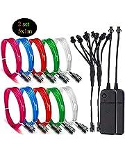 Sunboia Alambre electroluminiscente (EL Wire) Splitter Kit,2set 5x1M Resplandeciente efecto estroboscópico luz paquete de baterías para fiestas Neon Lights,decoración de Halloween Navidad