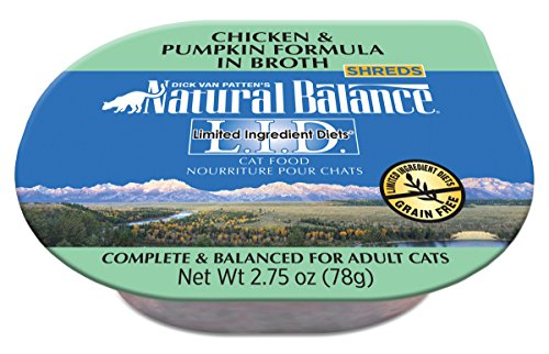 - Natural Balance Limited Ingredient Diets Wet Cat Food, Chicken & Pumpkin Formula In Broth, 2.75-Ounce Cups (Pack Of 24)