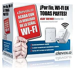 Devolo dLAN 500 WiFi - Kit de inicio de adaptador de comunicación por línea eléctrica PLC (500 Mbps, 2 adaptadores, 1 puerto LAN, repetidor WiFi, amplificador de señal WiFi, WiFi Move), blanco