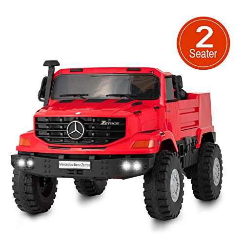 Uenjoy 2 Seater 12V Kids Ride On Car Mercedes Benz Zetros Electric Truck Motorized Vehicles w/Remote Control, Battery Powered, Storage Box, LED Lights, Suspension, Music, Horn, Red