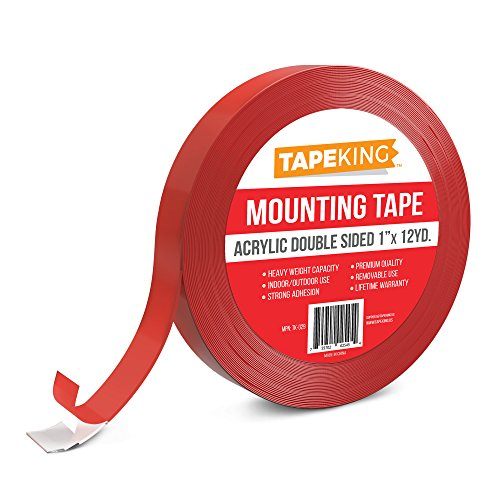 Removable Foam Mounting Squares (Tape King Heavy Duty Mounting Tape Clear, Double Sided Acrylic Removable 1 Inch x 12)