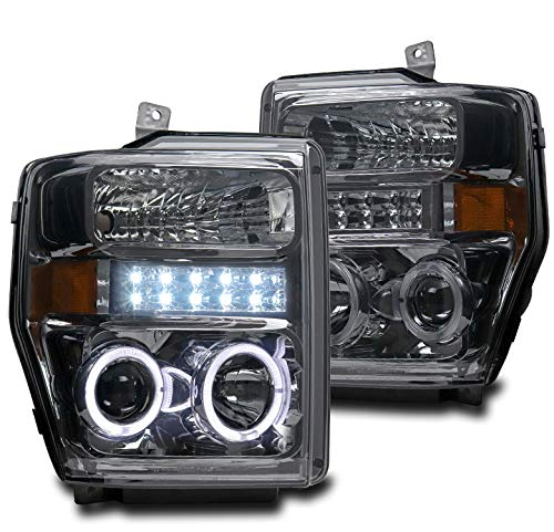 ZMAUTOPARTS Halo LED DRL Smoke Projector Headlights Headlamps For 2008-2010 Ford F250 / F350 / F450 / F550 Super Duty