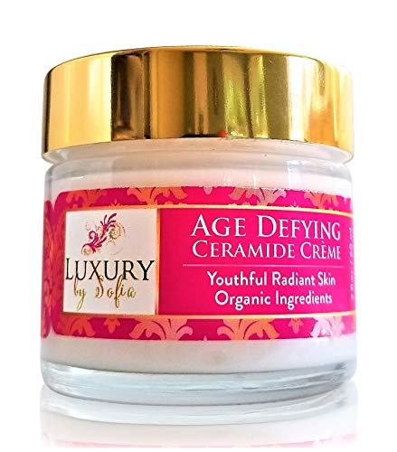 Luxury By Sofia Age Defying Ceramide Cream Restore Skin s Elasticity Strength Skin Brightening Hydrating Formula With Organic Grapeseed, Oregon Grape Jojoba Oils 10 Glycolic Acid