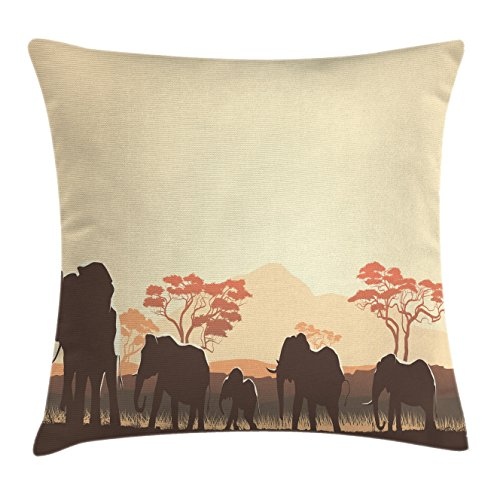 Cushion Cover by Ambesonne, African Wildlife Safari Big Animal Elephants in Forest with Lake Nature Scene, Decorative Square Accent Pillow Case, 18 X 18 Inches, Pale Yellow Brown (African Safari Fabric)