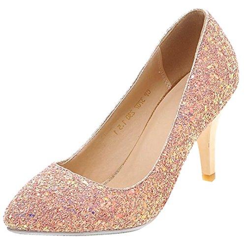 AIYOUMEI Damen Glitzer Spike Heel Pumps Stilettos High Heels Schuhe mit Absatz rosa(8.5cm)