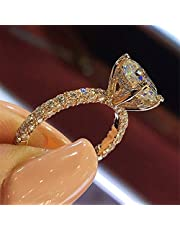 ChenFeng Rose Gold Ring Grown Halo Engagement Ring for Women Ideal Engagement Ring