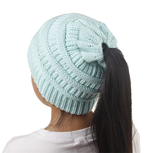 Nadition Baby Children Hat Clearance ♥ Beanie Tail Soft Stretch Cable Knit Messy High Bun Ponytail Beanie Hat (Light Blue)
