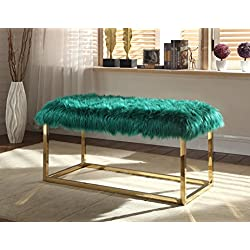Iconic Home Marilyn Bench Ottoman Faux Fur Brass Finished Stainless Steel Metal Frame, Modern Contemporary, Green
