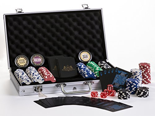 Premium Poker Chip Set With Aluminum Carrying Case. Upgraded Dealer/Small/Big Blind Buttons. PVC Black Water Proof Playing Cards. 300 Piece Composite, Texas Hold'em with Dice. Prime Professional (Chip 300 Case Aluminum)