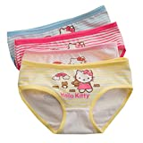 2-8 Years Old Girls Character Hellokitty Briefs Panties Cotton Striped Underwear 4 Pack