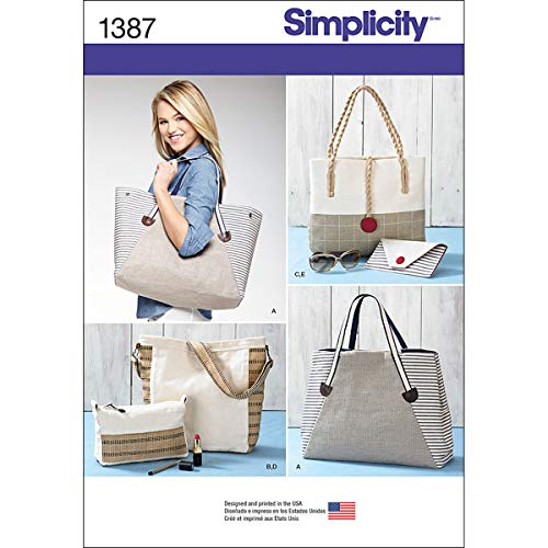 Simplicity 1387 Assorted Tote Bag, Purse, and Clutch Sewing Patterns, One Size -