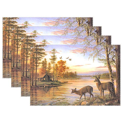 (FAJRO Lake House Deer Drinking Water Painting placemats for Kids Non Slip Washable Heat-Resistant Anti-Skid )