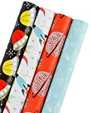 WRAPAHOLIC Gift Wrapping Paper Roll - Spacecraft/Rocket Space Cute Design for Birthday, Holiday, Baby Shower Gift Wrap - 4 Rolls - 30 inch X 120 inch Per Roll