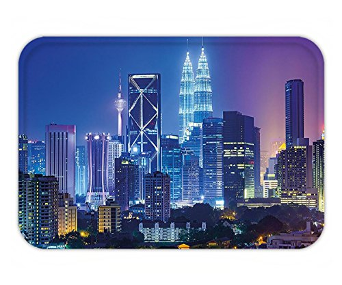 Minicoso Doormat Landscape Modern Scenery Image with Kuala Lumpur India Cityscape Skyscrapers Artwork Print - Tiffanys India