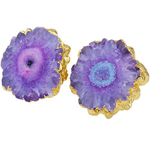 SUNYIK Natural Quartz Geode Druzy Stud Earrings,Purple Flower by SUNYIK (Image #2)