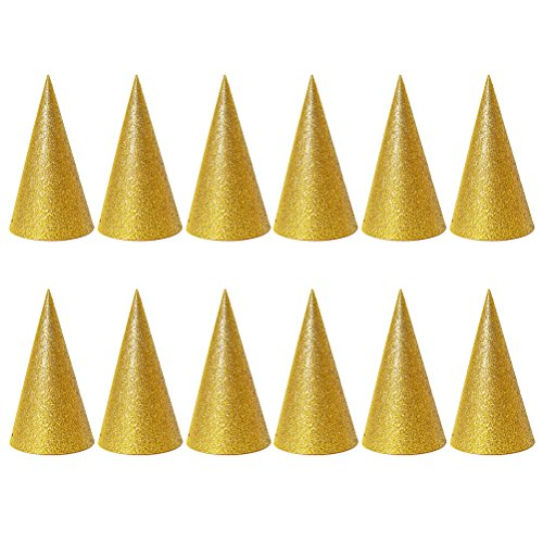 TOYMYTOY 12PCS Glitter Cone Party Hats Triangle Birthday Hats for Kids and Adults Party Decorations (Golden)