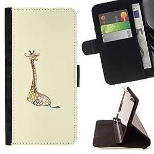 For Sony Xperia Z1 L39 Case , Jirafa beige brillante Animal minimalista- la tarjeta de Crédito Slots PU Funda de cuero Monedero caso cubierta de piel