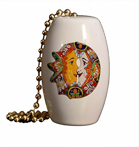 Gotham Decor Mexican Talavera Kissing Sun and Moon Porcelain Barrel Shaped Fan Pull/Light Pull