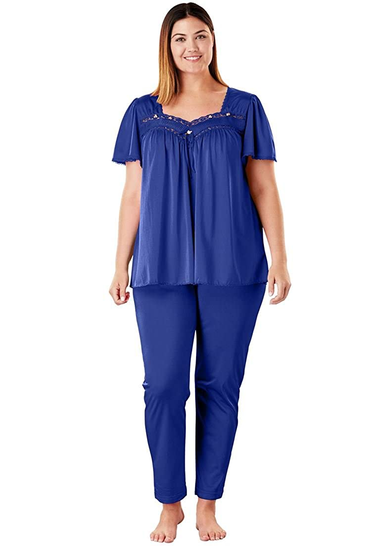 Only Necessities Women's Plus Size Silky 2-Piece Pajama Set