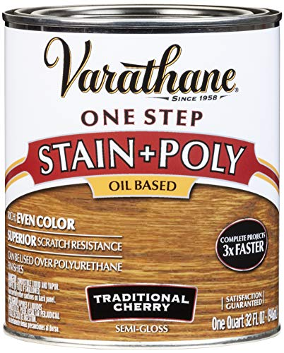 Varathane 225246H One-Step Wood Stain & Polyurethane, Quart, Traditional Cherry ()
