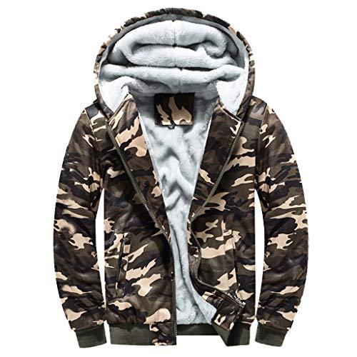 Zackate Mens Winter Warm Fleece Hoodies Overcoat Sweatshirt Sporty Zipper Sweater Jacket Outwear Coat Tops