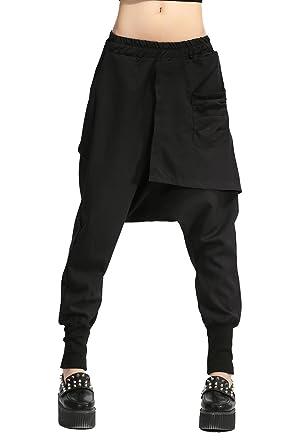 c608934b5b ELLAZHU Women Personality Elastic Waist Solid Harem Pants OneSize GY696  Black