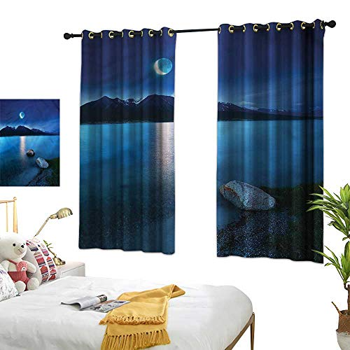 Warm Family Lake Decor Curtains Fantasy Midnight Moon Darkening and Thermal Insulating 55
